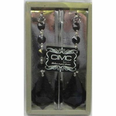 Cut Glass Hanging Beads Black