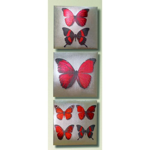 Arthouse Superfoil Butterfly Red Set Of 3 002413