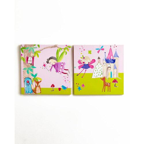 Arthouse Enchanted Fairies Set of 2 Printed Canvas 30cm x 30cm 004174
