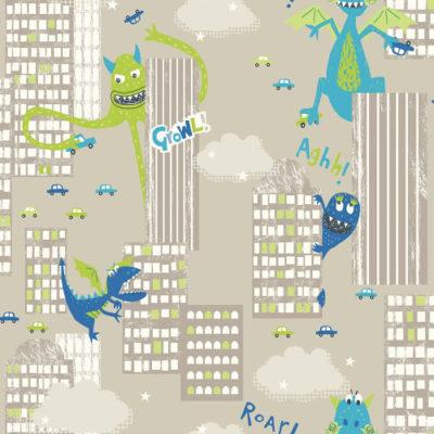 Arthouse Wallpaper Monster Mad Green 667700 Full Roll