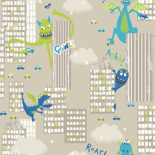 Arthouse Wallpaper Monster Mad Green 667700 Full Roll
