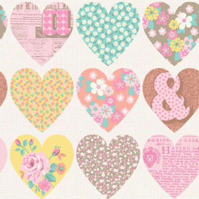Arthouse Wallpaper Patchwork Heart Pastel 668500 Full Roll