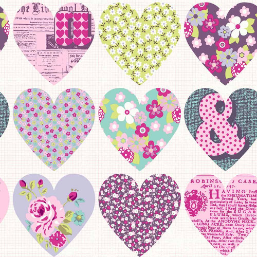 Arthouse Wallpaper Patchwork Heart Purple 668501 Full Roll