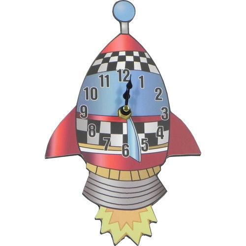 Childrens Rocket Clock 24cm