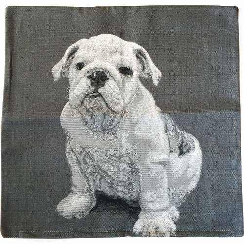 Hathaway British Bulldog Cushion Cover Grey 43cm x 43cm