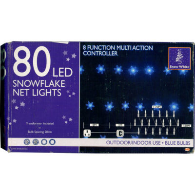 80 LED Snowflake Net Lights with Multi Action Controller