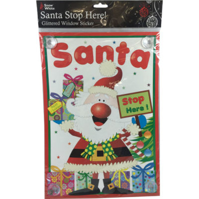 Christmas Santa Stop Here Glittered Window Sticker