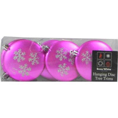 Hanging Glitter Star Decorated Christmas Tree Baubles in Pink Pack of 6