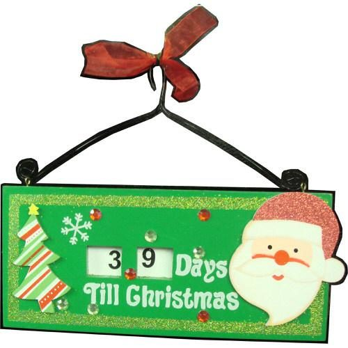 Countdown to Christmas Santa Hanging Wall Plaque