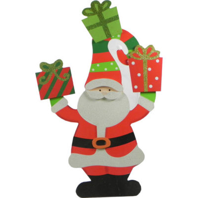 Decorative Wooden Santa Figure with Gifts