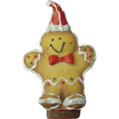Gingerbread Sledding Characters Chocolate Bear with Bow and Skirt