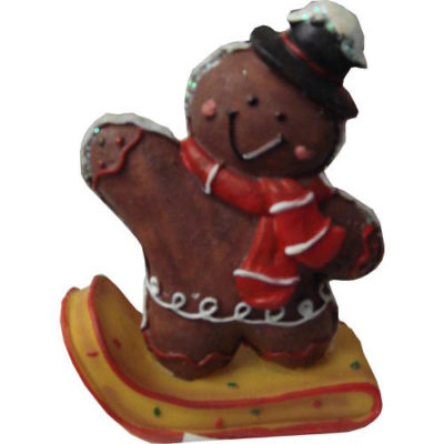 Gingerbread Sledding Characters Chocolate Bear with Hat and Scarf