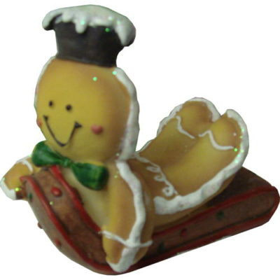 Gingerbread Sledding Characters Vanilla Bear with Bow and Clown Hat