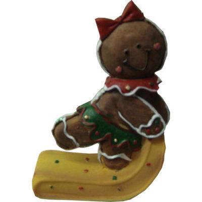 Gingerbread Sledding Characters Vanilla Bear with Bow and Xmas Pudding Hat