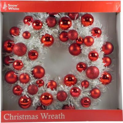 Christmas Decoration Tinsel Wreath with Red Baubles