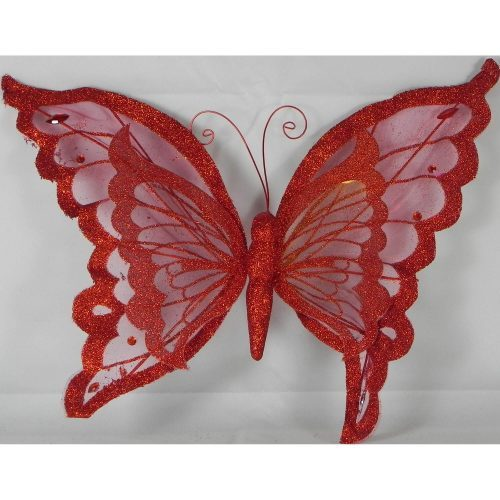 PMS Organza Glitter Butterfly Red
