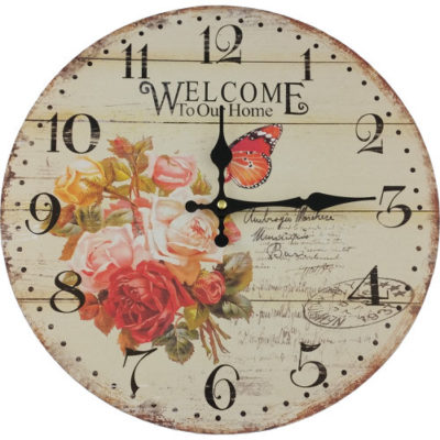 Floral Rose Butterfly Wall Clock
