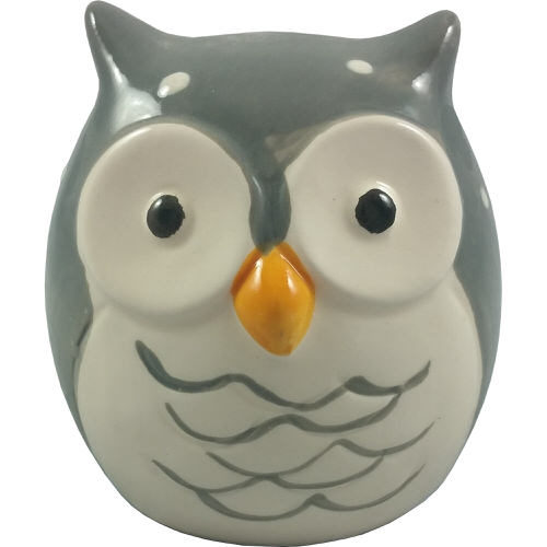 Owl Money Box Grey