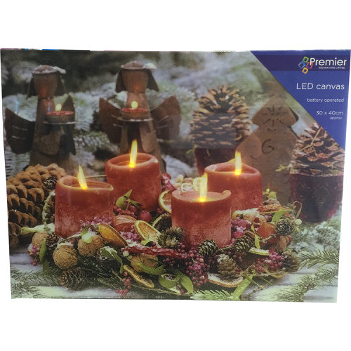 Christmas Candle Scene LED Canvas 30cm x 40cm