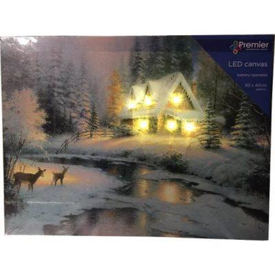 Christmas House Scene LED Canvas 30cm x 40cm
