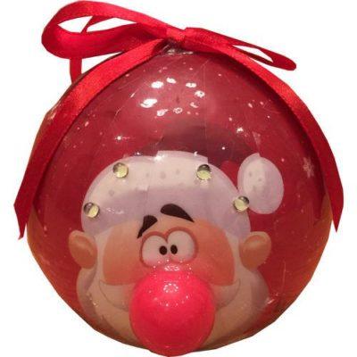 Santa Bauble with Light Up Nose & Flashing White LED's