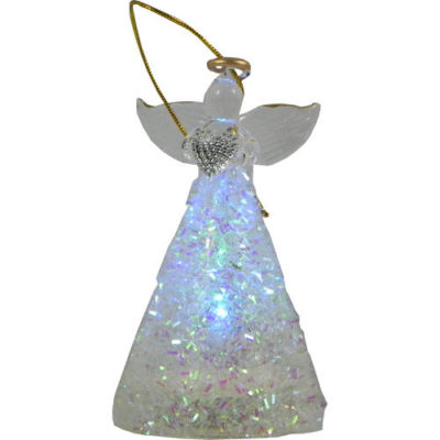 Christmas Light Up Angel with Iridescent Decor & Clear Heart 10cm