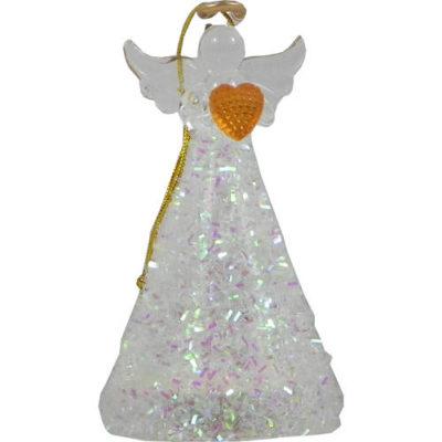 Christmas Light Up Angel with Iridescent Decor & Gold Heart 10cm