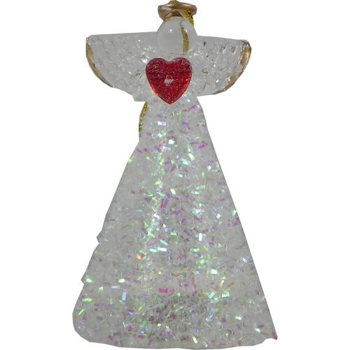 Christmas Light Up Angel with Iridescent Decor & Red Heart 10cm