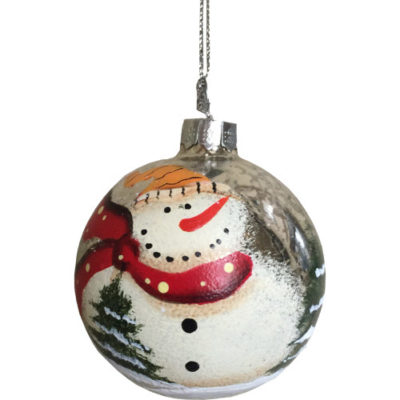 Snowman Glass Christmas Tree Bauble