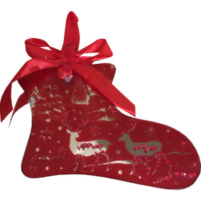 Mirrored Hanging Decorated Boot Bauble in Red
