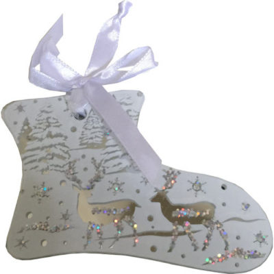 Mirrored Hanging Decorated Boot Bauble in White