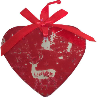 Mirrored Hanging Decorated Heart Bauble in Red