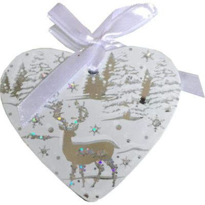 Mirrored Hanging Decorated Heart Bauble in White