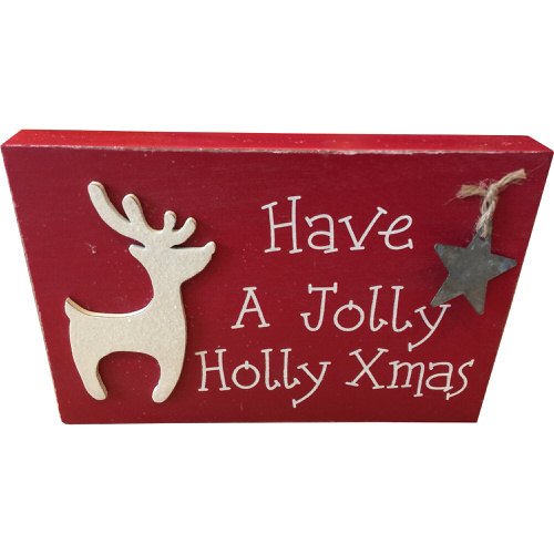 """""""Have A Jolly Holly Xmas"""" Decorated Plaque in Red"""