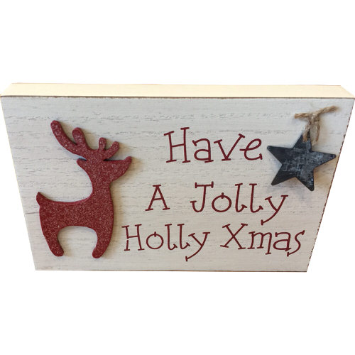 """""""Have A Jolly Holly Xmas"""" Decorated Plaque in Cream"""