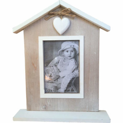 """""""White Heart"""" Mantle Free Standing Photo Frame"""