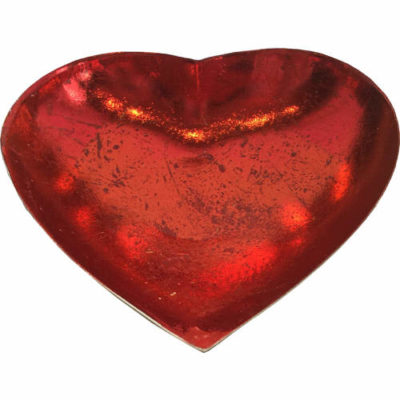 Heart Shaped Candle Bowl In Red