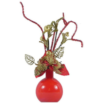 Christmas Flower Display in Red & Gold with Red Ball Vase