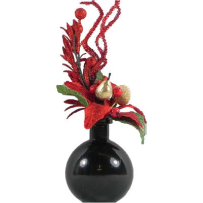 Christmas Flower Display in Red & Gold with Black Ball Vase
