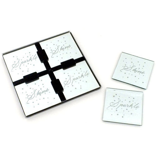 Glass Glitter Coasters Sparkle & Shine Pack of 4