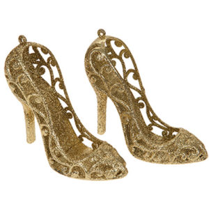 Glitter Hanging Shoe Tree Decoration Pack of 2 - Gold