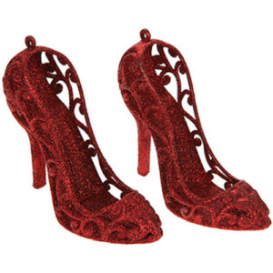 Glitter Hanging Shoe Tree Decoration Pack of 2 - Red