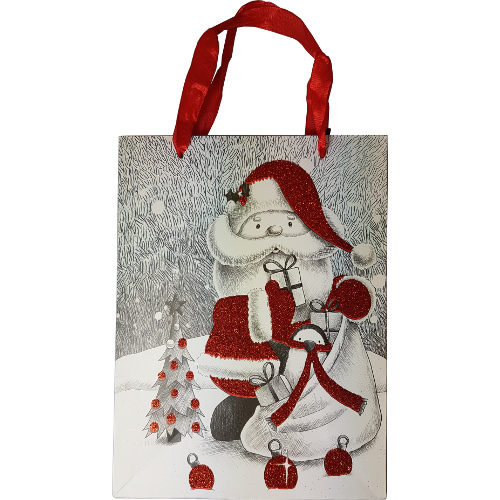 Glitter Santa Christmas Gift Bag Small