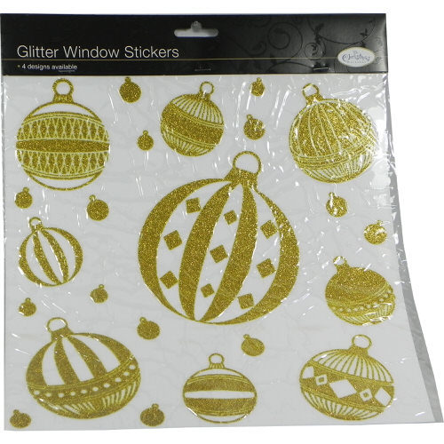Christmas Bauble Window Stickers in Gold