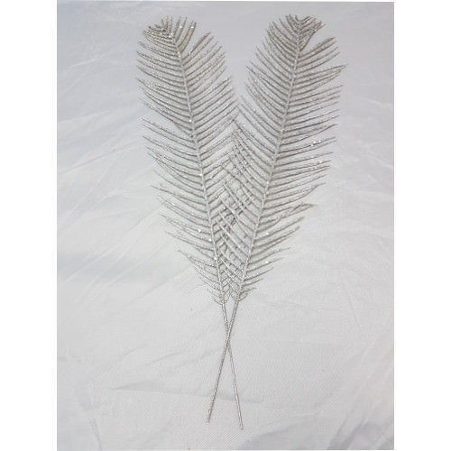 Glitter Feather Pack of 2 Silver