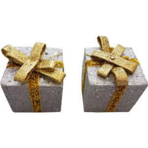 Glitter Box Present Decoration Pack of 2 Silver