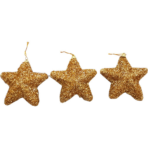 Christmas Tree Star.Glitter Star Decoration Pack Of 3 Gold