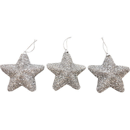 Glitter Star Decoration Pack of 3 Silver