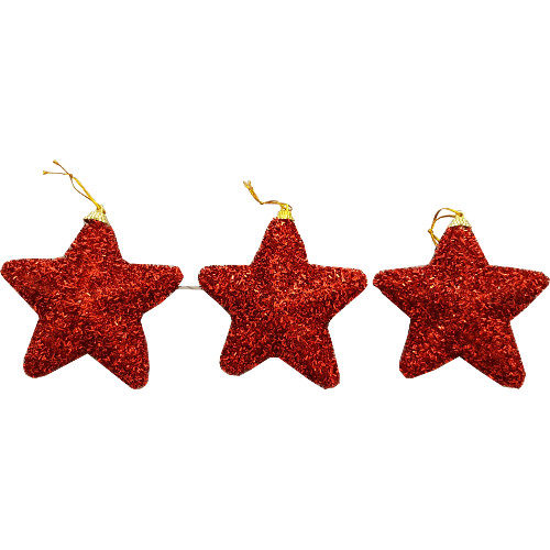 Glitter Star Decoration Pack of 3 Red