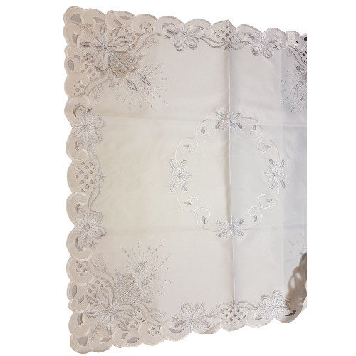 "Festive Tablecloth Cream & Silver 36"" x 36"""